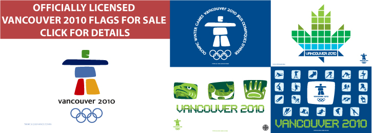 Officially Licensed Vancouver 2010 Flags for Sale
